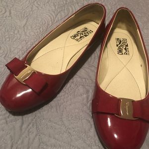 Salvatore Ferragamo Patent Leather Bow Flats